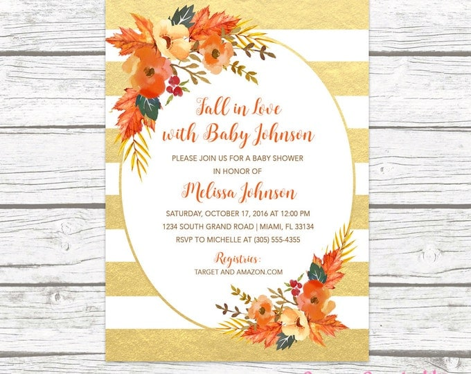 Fall in Love Baby Shower Invitation, Autumn Falling Floral Leaves Wreath Gender Neutral Invite Gold Foil Watercolor, Printable Printed