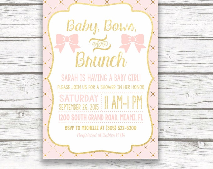 Pink and Gold Foil Baby Shower Invitation, Baby Bows and Brunch, Gold Dot Baby Girl Bow Invite, Blush Pink, Parisian Chic