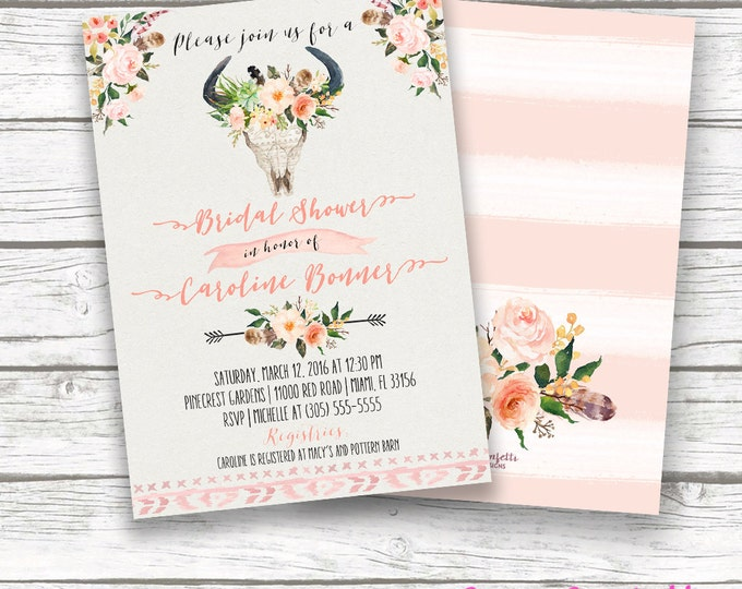 Boho Bridal Shower Invitation, Tribal Watercolor Floral Antler Bullhead Cow Skull Wedding Invite, Pink Southwestern Bohemian, Printable