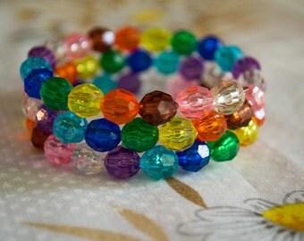 Rainbow beaded Bracelet made from memory coil