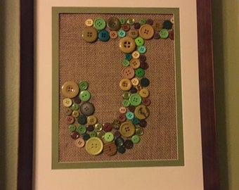 Button Art - Initial Decoration - Children's Nursery - Wall Hanging - Jungle Theme - Customizable Colors and Theme