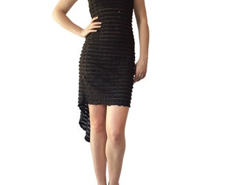 Black Sequin Ruffle - Godet Tango Dress