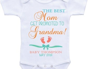 Grandma to be Onesie Pregnancy Announcement baby shirt birth announcement onesies Pregnancy Reveal to grandma Mom new grandma baby bodysuit