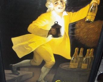 Vintage Glossy Poster La Bonne Bouteille Champagne Masse Pere & Fils Reims