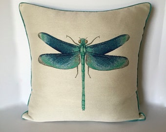 Designer Pillow - Dragonfly Accent Pillow - Decorative Pillow - Pillow Cover - Turquise Throw Pillow