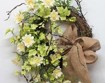 Country Spring Wreath, Summer Wreath, Front Door Wreath, Country Wildflowers, Wreath for Doors, Summer Decor, Natural Burlap, Unique Wreath