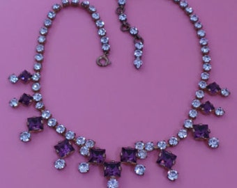Art Deco Purple And Clear Rhinestone Necklace