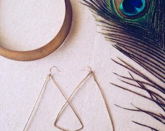Hammered Triangle Hoop Earrings // Hammered Earrings, Large Earrings, Geometric Triangle, Ethnic Jewelry, Bohemian Jewelry, Festival, Gold