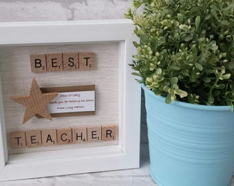 Best Teacher - Scrabble Frame - Scrabble Word Gift - Scrabble Picture - Keepsake - Thank you Teacher - Teachers Gift