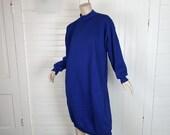 80s Sweatshirt Dress in Royal Blue- Mock Neck- 1980s Tunic- One Size