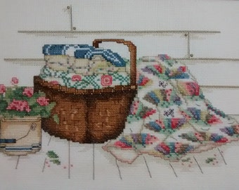 Paula Vaughan Cross Stitch/Quilts/Basket/Flowers/ready to frame