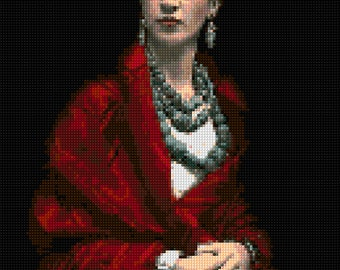 Frida Kahlo cross stitch portrait pattern PDF - EASY chart with one color per sheet And traditional chart! Two charts in one!