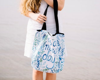 """Tote Bag """"It's A New Day"""" Blue Turquoise Watercolor Lettering, Black Wide Strap"""