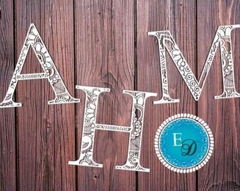 Paper cutting TEMPLATE Alphabet *A-M* /Printable, Papercut, Monogram, Alphabet letters