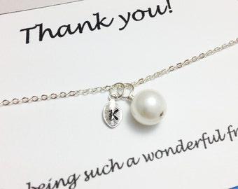 Bridesmaid bracelet - white pearl bracelet - personalized bracelet - girlfriend bracelet - gift for her