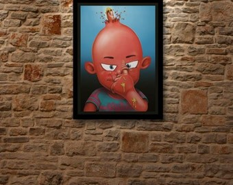 NEVER DIG To DEEP - Garbage Pail Kid tribute, drawing Art poster limited edition of 5 digital prints signed & numered.