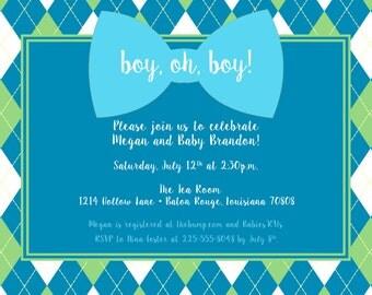 Argyle Baby Boy Shower Invitation