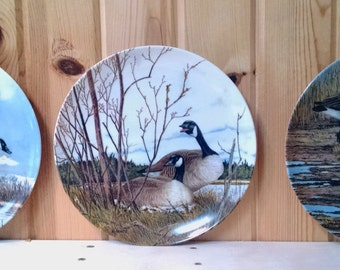 Wings Upon the Wind - Artist Donald Pentz - Canadian Geese Plates - Set of 3:  The Landing, Nesting, Courtship, 1986 Dominion China Ltd.