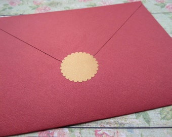 70 Copper envelope seals, 1 inch Scalloped Round stickers, circle vinyl decals, removable wallpaper, metallic gold wedding labels, muraux