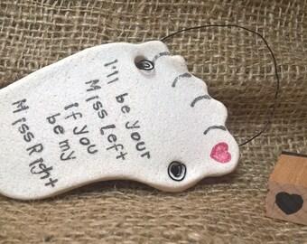 Foot salt dough ornament, Valentine's, lgbt, romantic gift.