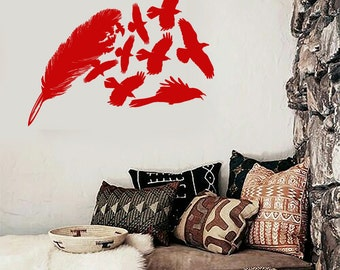 Wall Vinyl Decal Feathers and Group of Kites Birds Nature Animal Modern Ethnic Home Art Decor (#1155di)