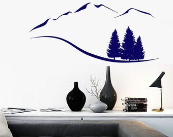Wall Vinyl Decal Mountain and Trees Nature Rocky Landscape Hand Drawing Sketch Modern Home Decor (#1190dz)