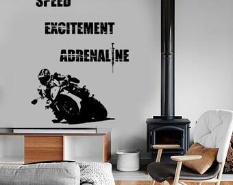 Wall Vinyl Decal Bike Biker Racing Speed Excitement Adrenaline Decor 1335dz
