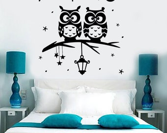Wall Vinyl Decal Owl Tree Night Romantic Kids Nursery Children Decor 1392dz