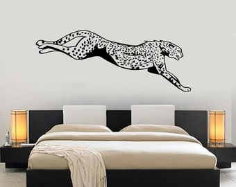 Wall Vinyl Cheetah Jumping Leopard Predator Jungle Nature Africa Mural Art 1467dz