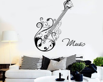 Wall Vinyl Music Guitar Flower Ornament Guaranteed Quality Decal Mural Art 1508dz