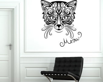 Wall Decal Animal Cat Pets Kitty Meow Vinyl Decal Sticker 1848dz