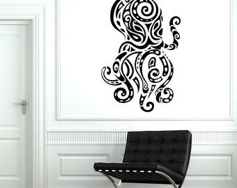 Wall Decal Octopus Ocean Sea Ornament Tribal Mural Vinyl Decal Sticker 1886dz