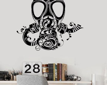 Wall Vinyl Decal Gas Mask Abstract Modern Cool Decor 2333di