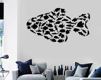 Wall Vinyl Decal Fish Ocean Sea Lake Fisherman Decor 2339di