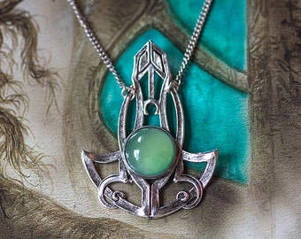 """""""Athena"""" green Agate necklace - Silver Collection - Art pattern"""