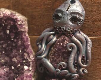 Teal Purple Cthulhu Crystal Amethyst Onyx Necklace - Octopus, Kraken, Tentacle, H.P. Lovecraft, Cosmic,