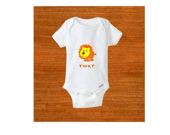 Baby bodysuit. Baby clothes. Roar. Lion. Africa. Baby shower gift. Christmas gift. Birthday gift. Take home outfit. Newborn clothing.