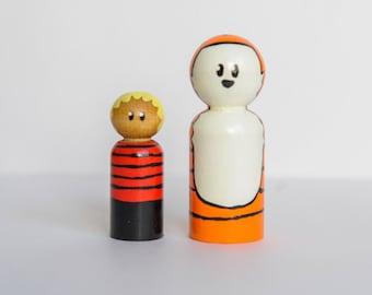 Calvin and Hobbes peg dolls