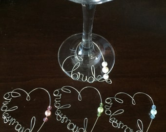 Bride/Bridesmaid Bachelorette Wine Charms