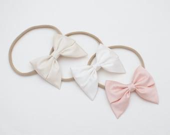 Silk Dupioni Girl Headband One Size Mini Sailor Bow Ivory or White