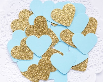 Baby Blue and Gold Confetti, Glitter Confetti, Heart Confetti, Gold Baby Shower, Baby Boy Gift, Frozen Birthday Party