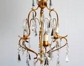 Crystal CHANDELIER Lighting Mid Century Vintage Shabby Chic Fixture Brass Murano Italian Style 1950 wedding gift home interior decor