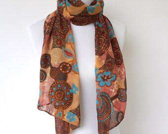 Brown Silky Scarf, Womens Scarves, Spring Scarf, Silky Scarves, Fashion scarf, Boho scarf, Scarf Shawl, Women's Accessories, Gifts For Her