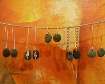 Harri Earrings. Pebble earrings. Natural jewelry. Beach stones. Gift for group.