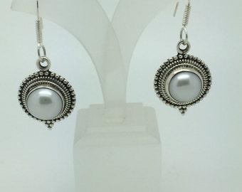 pearl dangle earrings,silver earrings,stone earrings,gemstone earrings,pearl stone,pearl jewelry,ethnic earrings,gypsy earrings,boho chic