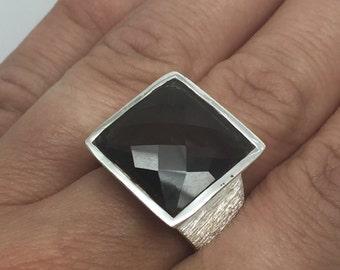silver ring with Smoky Quartz stone,Smoky Quartz ring,Smoky Quartz stone,Smoky Quartz jewelry,stone ring,stone jewelry,silver women ring