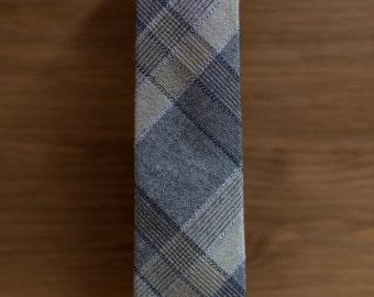 men's necktie - brown & tan cotton plaid