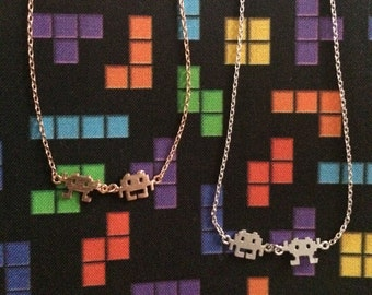 Silver, Yellow Gold, and Rose Gold Space Invaders Charm Necklaces