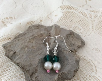 Green, Ivory cream and pink earrings
