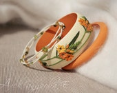 Ornithogalum Bangle set - 3pcs -  Polymer clay floral  bracelets - Orange flowers - Multi strand beaded bracelet